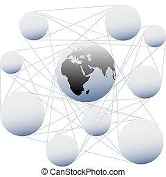 unire, rete, globale, collegamenti, sfera, terra