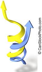 unire, successo, punto, frecce, spirale, su, progresso