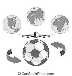unire, tutto, football, peoples., paesi