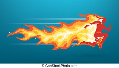 Unisex character silhouette running in flames