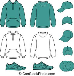 Unisex hoodie, cap, sneakers set vector illustration. EPS8...