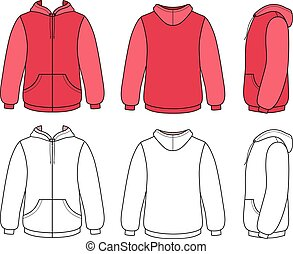 Hoodie sweater template (front, side & back outlined view) vector illustration. EPS8 file available. You can change the color or you can add your logo easily.