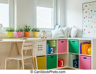 unisex, niños, diseño, habitación