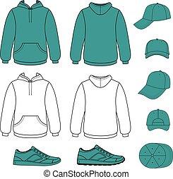 unisexe, casquette, hoodie, ensemble, espadrilles