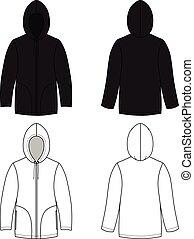 unisexe, cuir, noir, hoodie