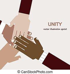 unità, diverso, mani