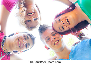 unità, gruppo, adolescenti