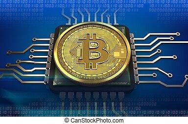 unité centrale traitement, bitcoin, 3d
