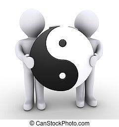 unité, entre, deux personnes