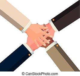 unité, mains, collaboration, icône