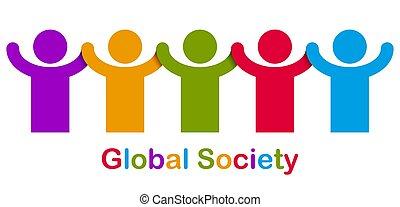 unité, stand, société, vecteur, races, logo, gens, coopération, une, concept, amitié, icon., allégorie, global, différent, solidarité, nous, mondial, ou, illustration, mondiale, togetherness