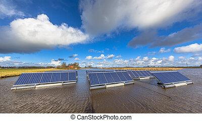 unités, eau, flotter, solaire