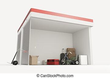 unités, soi, stockage, section