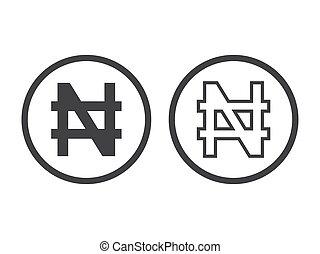 unit., valuta, vector, symbool, naira, nigeriaan, monetair, teken., illustratie