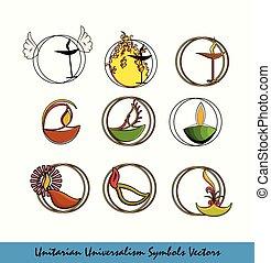 unitarian, universalism, símbolos, conjunto