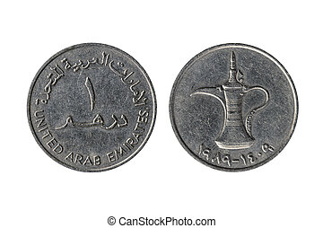 United Arab Emirates 1 Dirham coin with a traditional Arabic Dallah coffee pot on the reverse side cut out and isolated on a white background