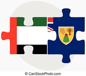 United Arab Emirates and Turks and Caicos Islands Flags in...