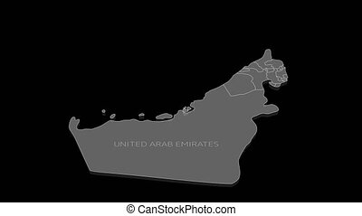 Stylish and modern United Arab Emirates map in flat infographic style, it is perfect for decorating presentations or your video.