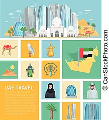 United Arab Emirates Decorative Icons Set