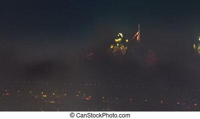 United Arab Emirates, Dubai, new years eve fireworks near...