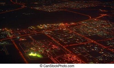 United Arab Emirates, Dubai. Night view from the airplane window