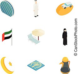 United Arab Emirates elements icons set