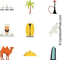 United Arab Emirates elements icons set flat style