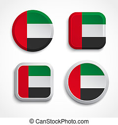 United Arab Emirates flag buttons