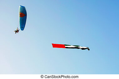 United Arab Emirates flag flying in the air