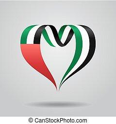 United Arab Emirates flag heart-shaped ribbon. Vector illustration.