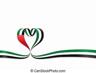 United Arab Emirates flag heart-shaped ribbon. Vector...
