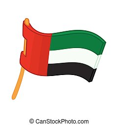 United Arab Emirates flag icon, cartoon style