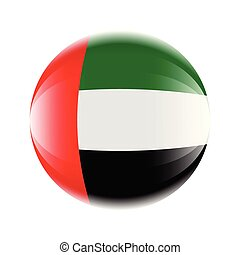 United Arab Emirates flag icon in the form of a ball. Vector eps 10