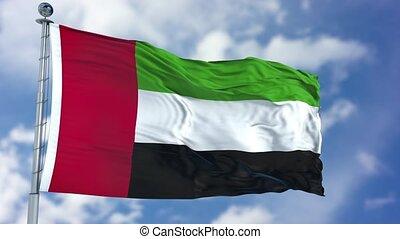 United Arab Emirates Flag in a Blue Sky