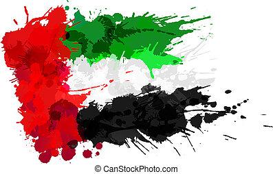 United Arab Emirates flag made of colorful splashes