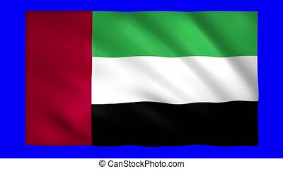 United Arab Emirates flag on green screen for chroma key