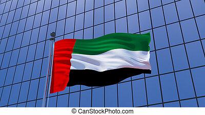 United Arab Emirates flag on skyscraper building background. 3d illustration