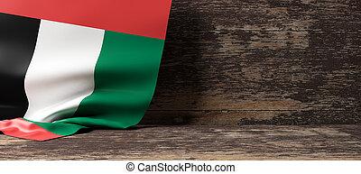 United Arab Emirates flag on wooden background. 3d illustration