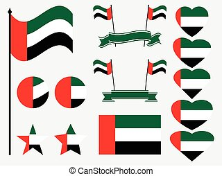 United Arab Emirates flag set. Collection of symbols, flag in heart. Vector illustration