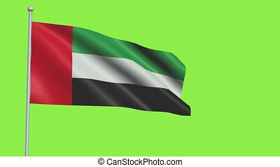 United Arab Emirates Flag in 3D render with green screen background in Slow Motion