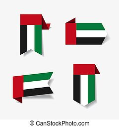 United Arab Emirates flag stickers and labels. Vector...