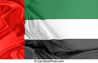 United Arab Emirates Flag. Flag with a beautiful glossy silk...