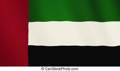 United Arab Emirates flag waving animation. Full Screen. Symbol of the country.