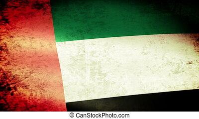 United Arab Emirates Flag Waving, grunge look