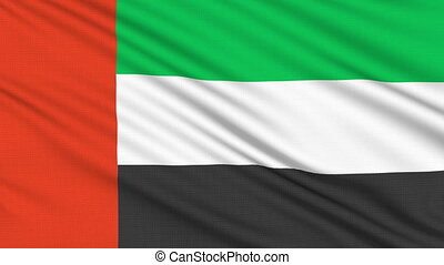 United Arab Emirates flag, with real structure of a fabric