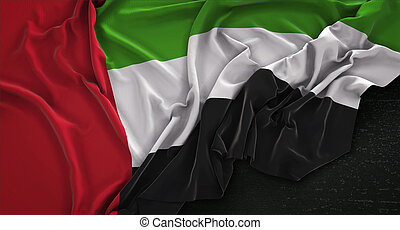 United Arab Emirates Flag Wrinkled On Dark Background 3D Render