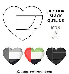 United Arab Emirates heart icon in cartoon style isolated on white background. Arab Emirates symbol stock vector illustration.