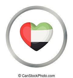 United Arab Emirates heart icon in cartoon style isolated on white background. Arab Emirates symbol stock vector illustration.