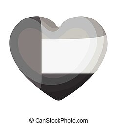 United Arab Emirates heart icon in monochrome style isolated on white background. Arab Emirates symbol stock vector illustration.