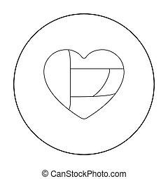 United Arab Emirates heart icon in outline style isolated on white background. Arab Emirates symbol stock vector illustration.